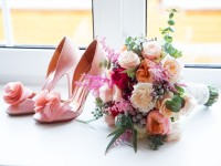 blush pink mischka badgley wedding shoes for bride