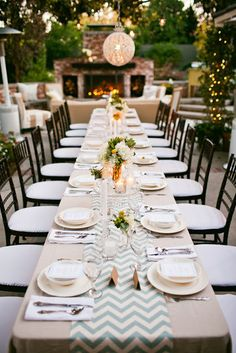 Cocktail Party Theme With Outdoor Table Setting
