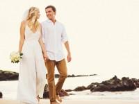 Destination Wedding Bride and Groom Walking Along Beach