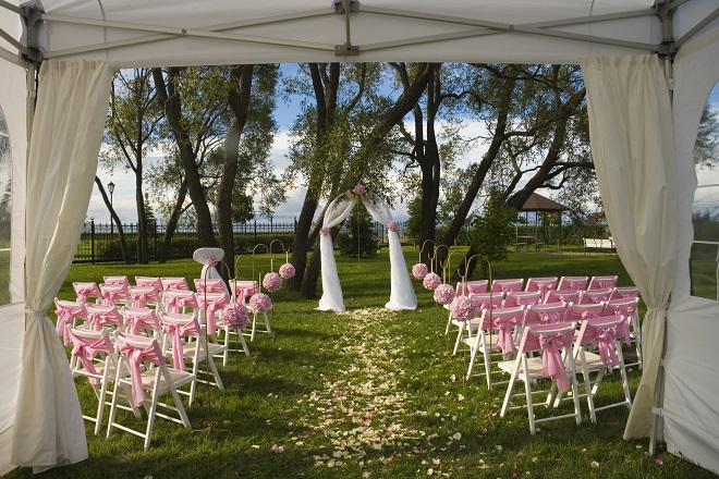 wedding ceremony held in public park