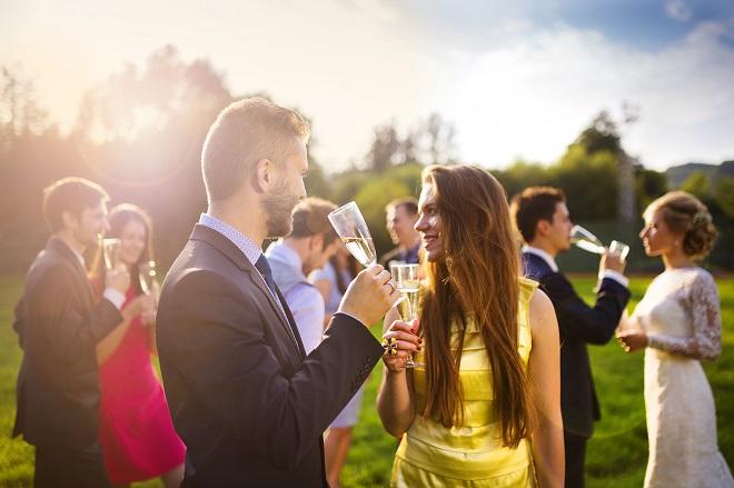 wedding guests mingling at reception
