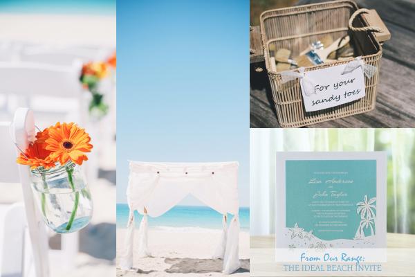 Real wedding beach invitation