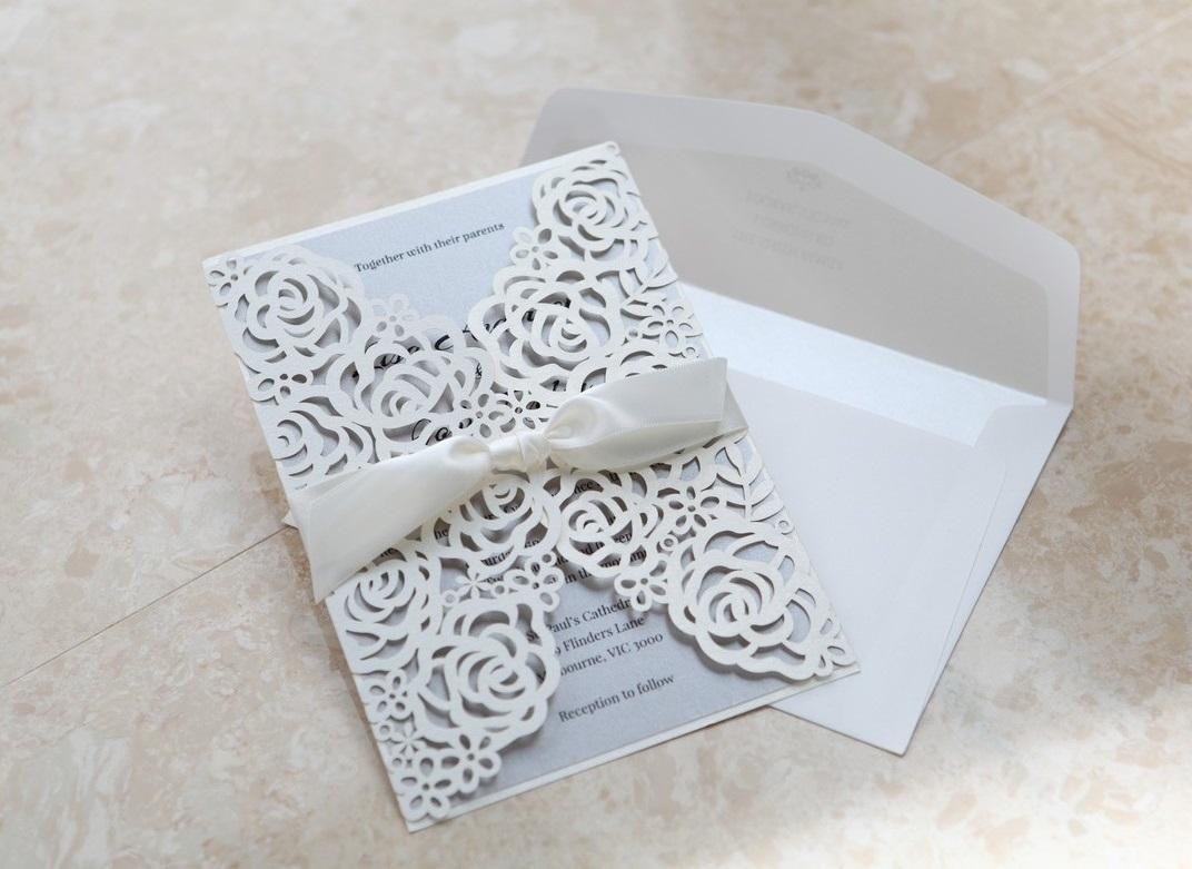 metallic wedding invitation