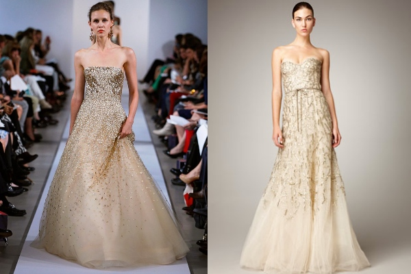 sprakly gold non-white wedding dresses