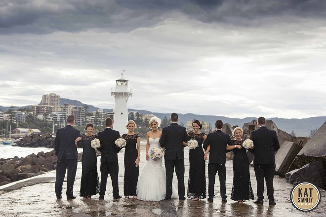 wedding party on the harbour