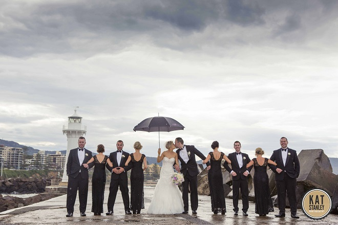 bridal party photos with props