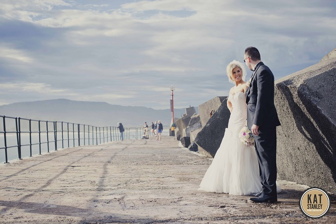 bride and groom on the harbour