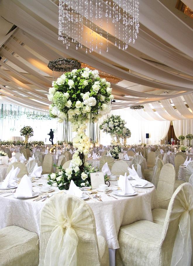 Wedding reception venue table decorations