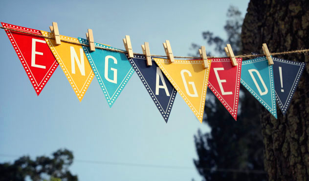 Engagement party flag in multi coloured theme