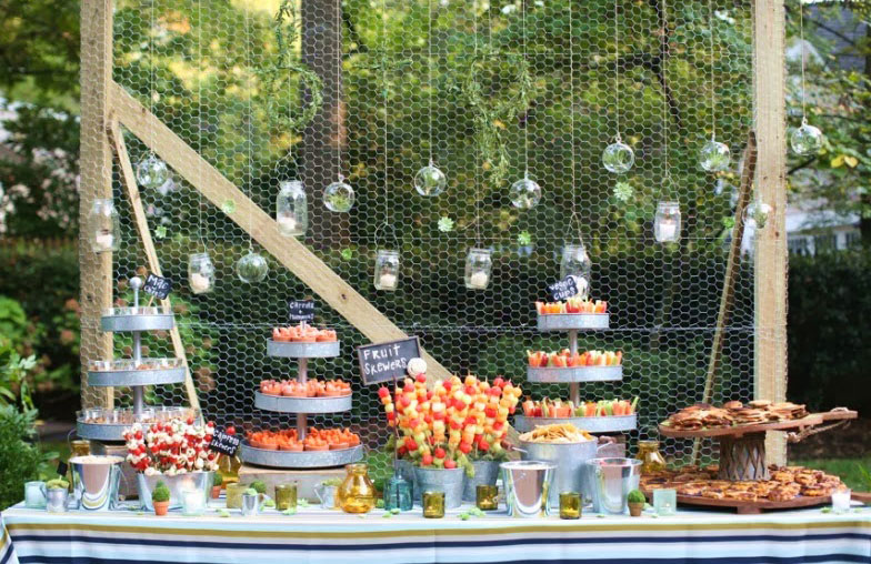 Garden party theme, with table setting.