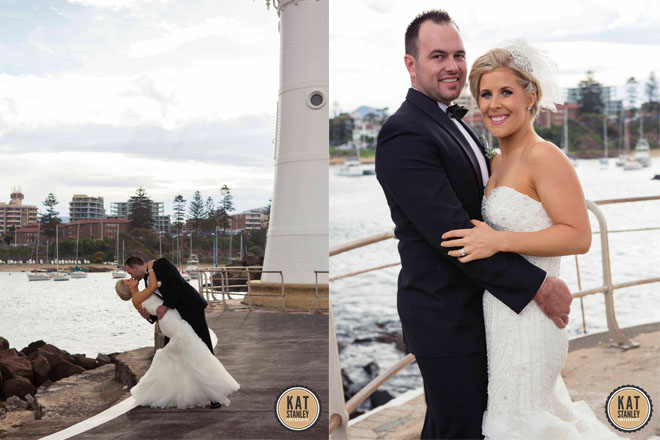 bride and groom at lighthouse