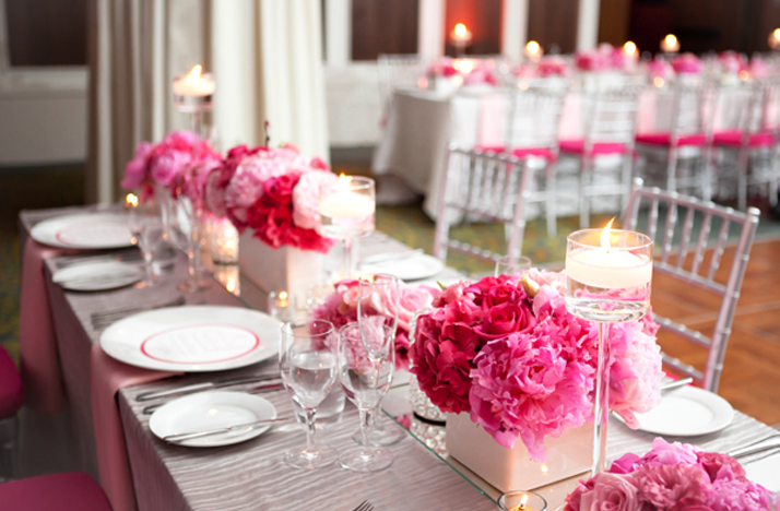 pink wedding flower arrangements for reception table centrepieces
