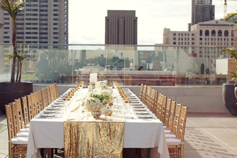 glitter tablecloth wedding inspiration