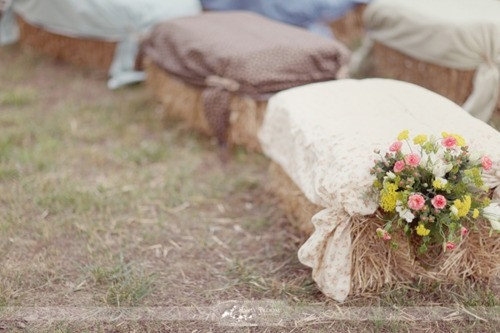 rustic wedding theme bale of hay ceremony styling