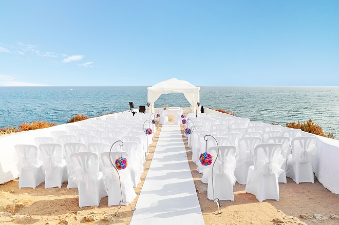 beautiful decorations for beachside destination wedding ceremony