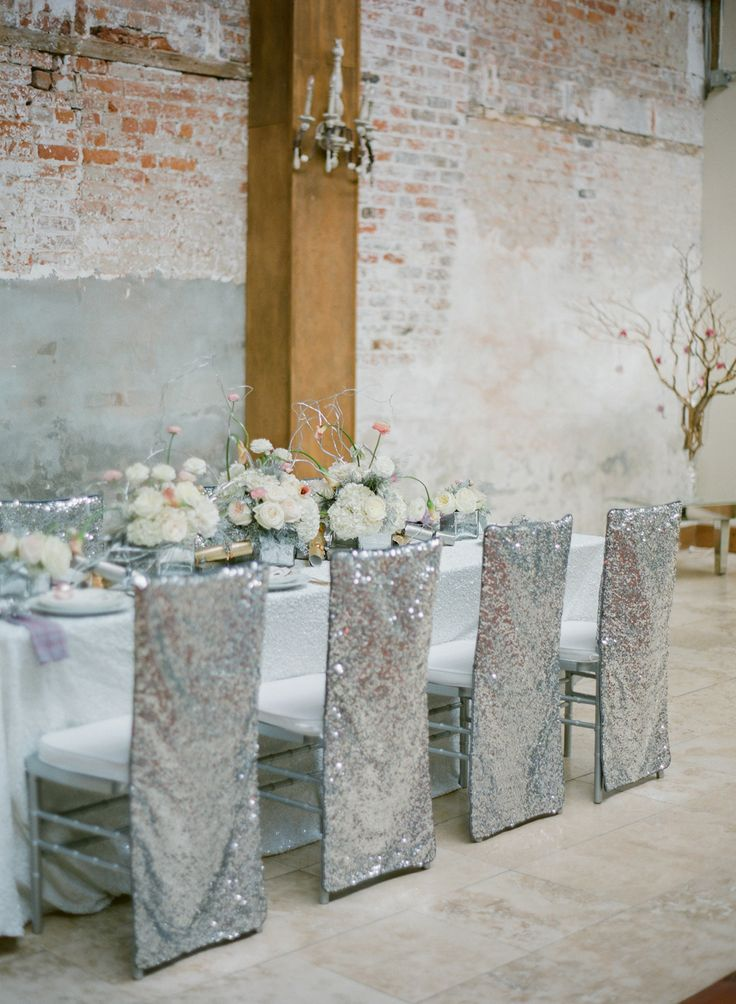 sparkly silver glitter wedding chair covers