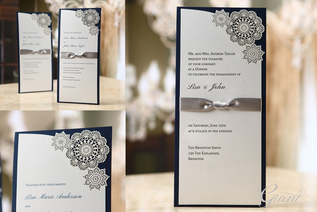 Engagement invitations, featuring laser cut, hard cover back board and a ribbon