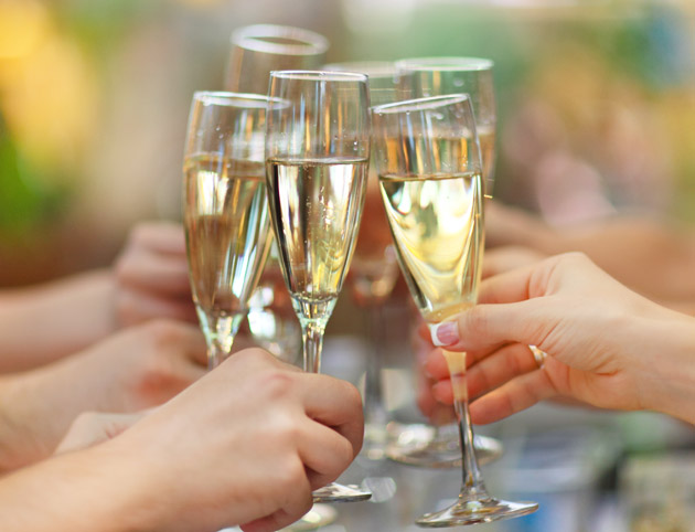 People Holding Glasses Of Champagne Making A Toast at Engagement Party
