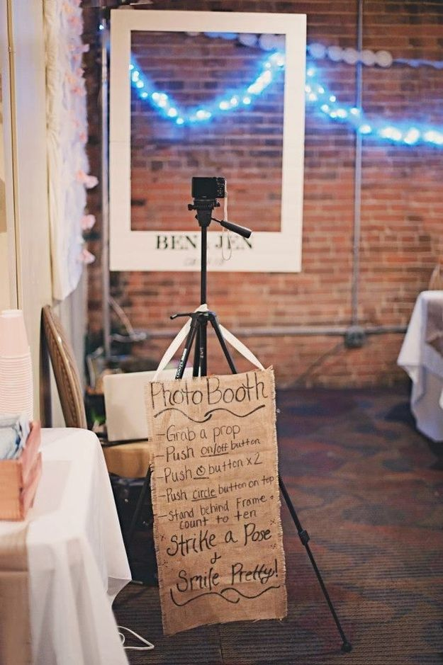 casual wedding reception diy photo booth