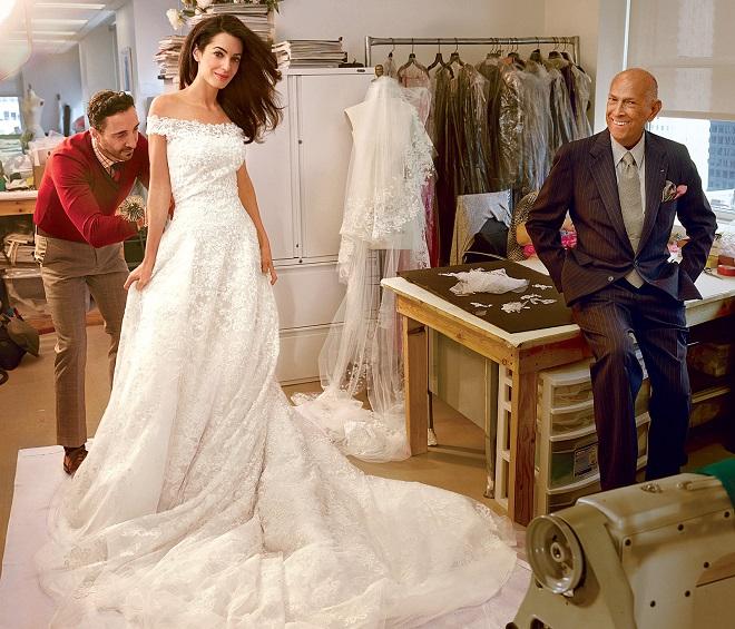 oscar de la renta designed celebrity wedding dress