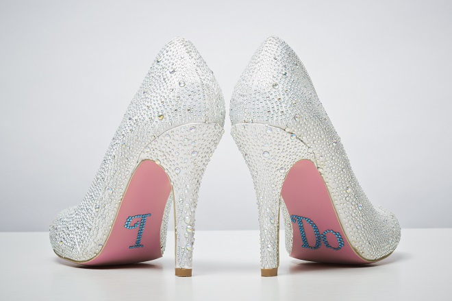 something blue bridal wedding shoes