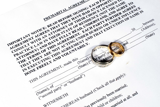 prenuptial agreement documentation for engaged couple