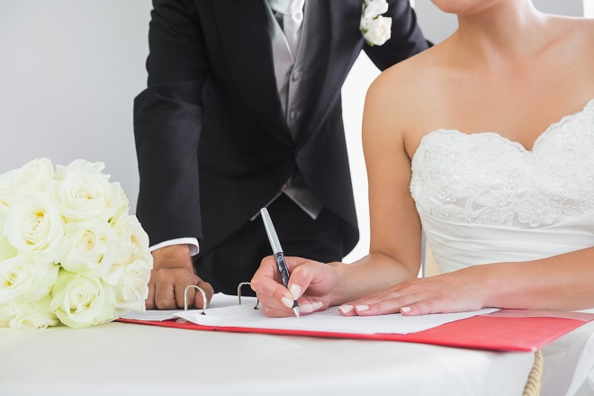 changing your name bride sign registry after marriage