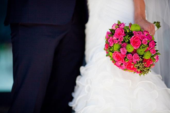close up of brides wedding flowers