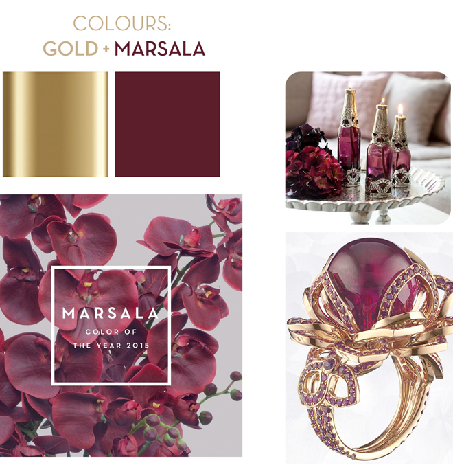 Colour ctheme of the year - Marsala nad gold