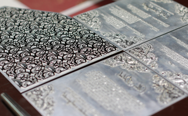 Metal plate used in gold foiling