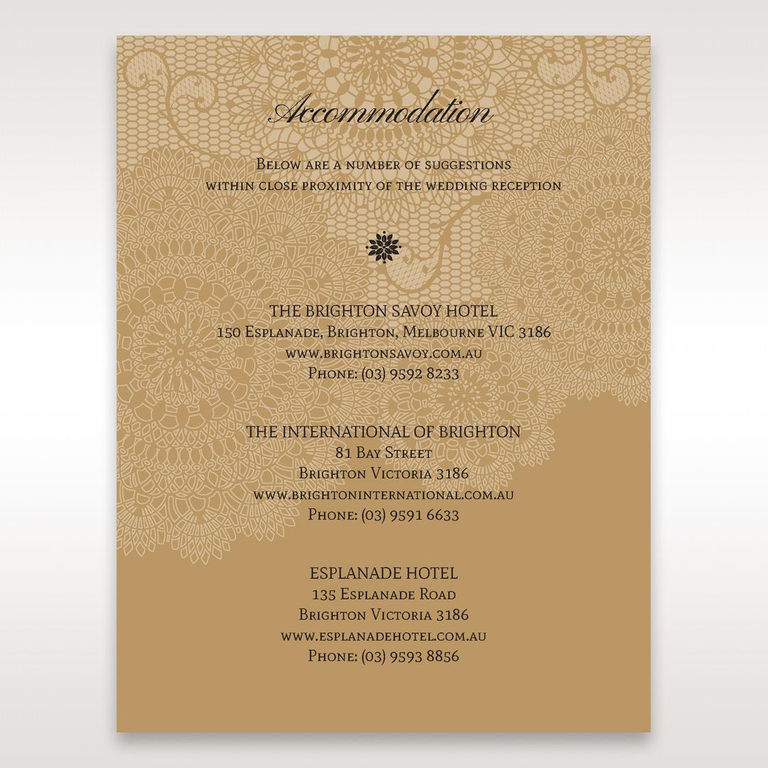 Yellow/Gold Tri-Fold Laser Cut Gold - Accommodation - Wedding Stationery - 65