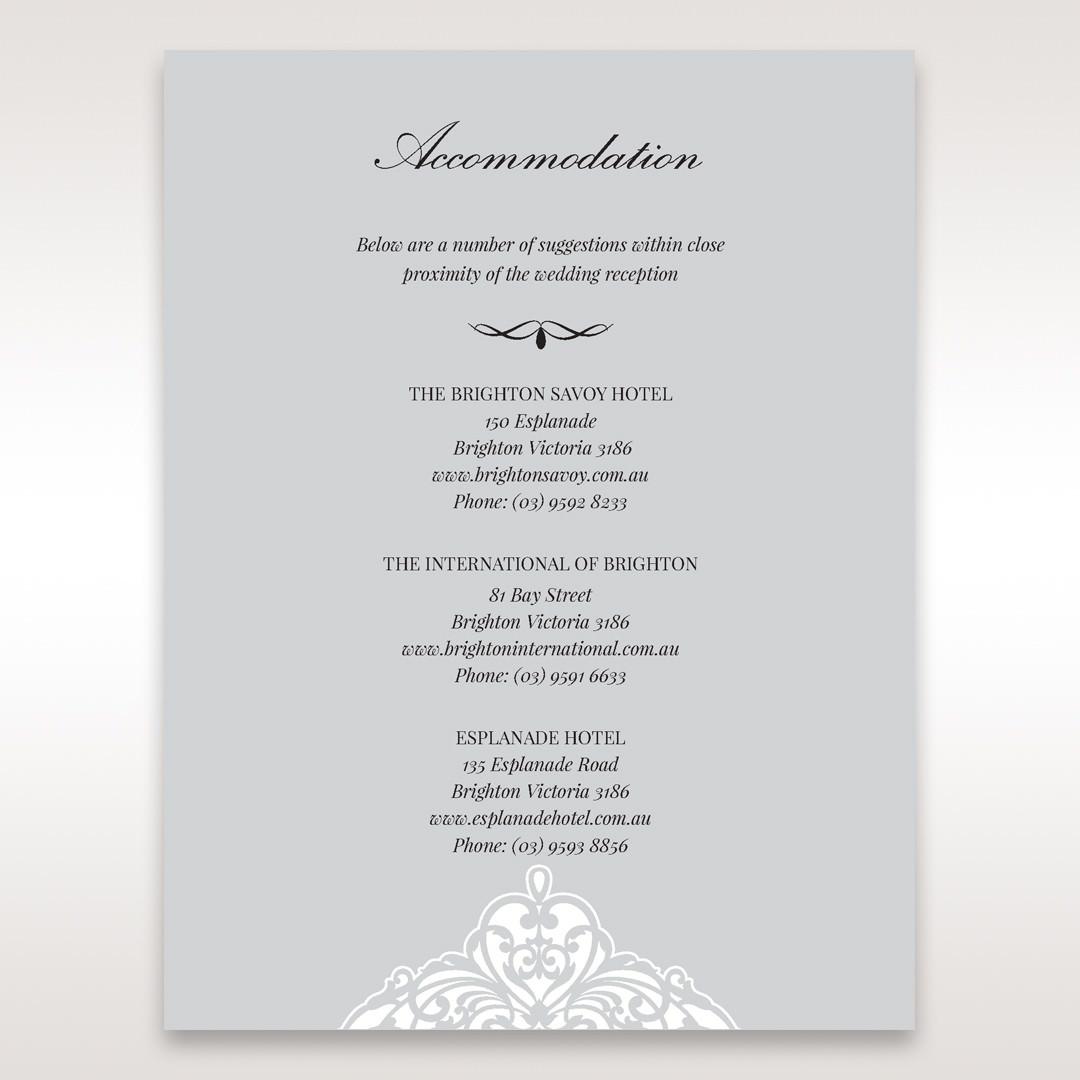 Silver/Gray Jeweled Romance Laser Cut - Accommodation - Wedding Stationery - 80
