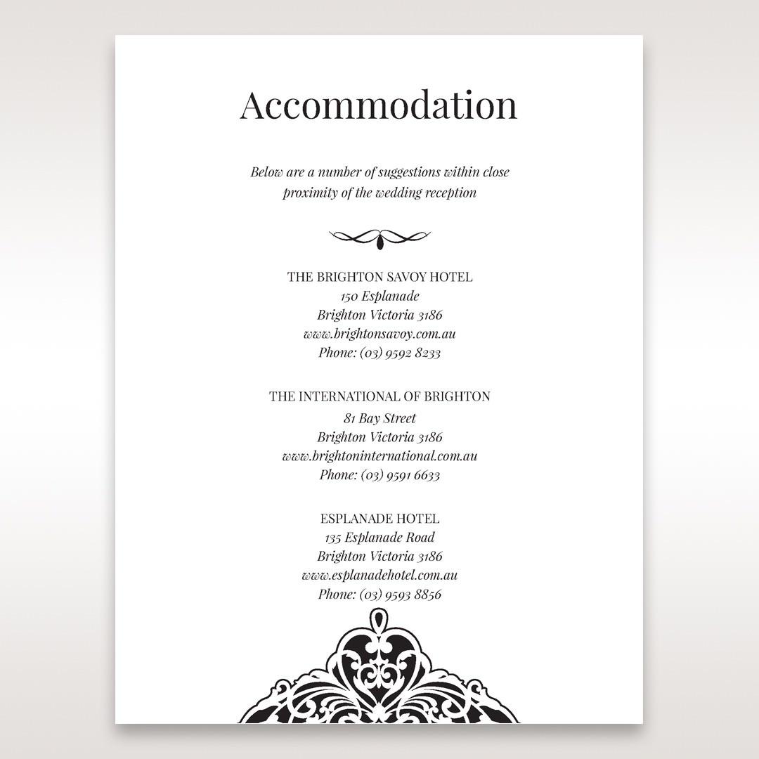 White Jeweled Romance Black Lasercut Pocket - Accommodation - Wedding Stationery - 94