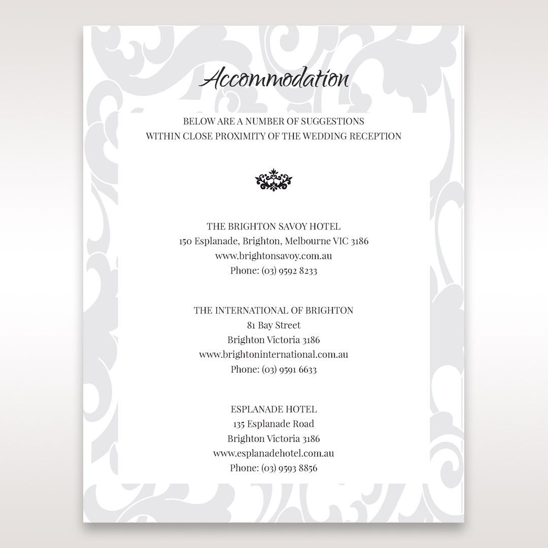 Blue Laser Scrolling Grandeur Layered Laser Cut - Accommodation - Wedding Stationery - 29