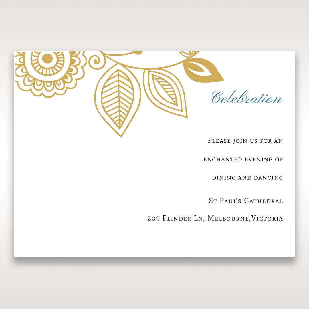 Yellow/Gold Splendid Golden Swirls - Reception Cards - Wedding Stationery - 43