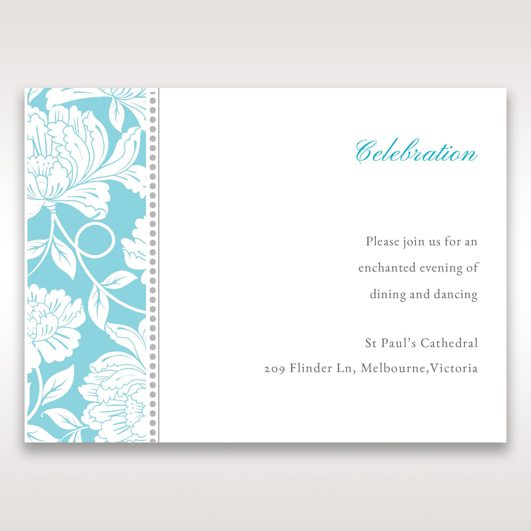 Blue Vintage Floral in Blue - Reception Cards - Wedding Stationery - 80