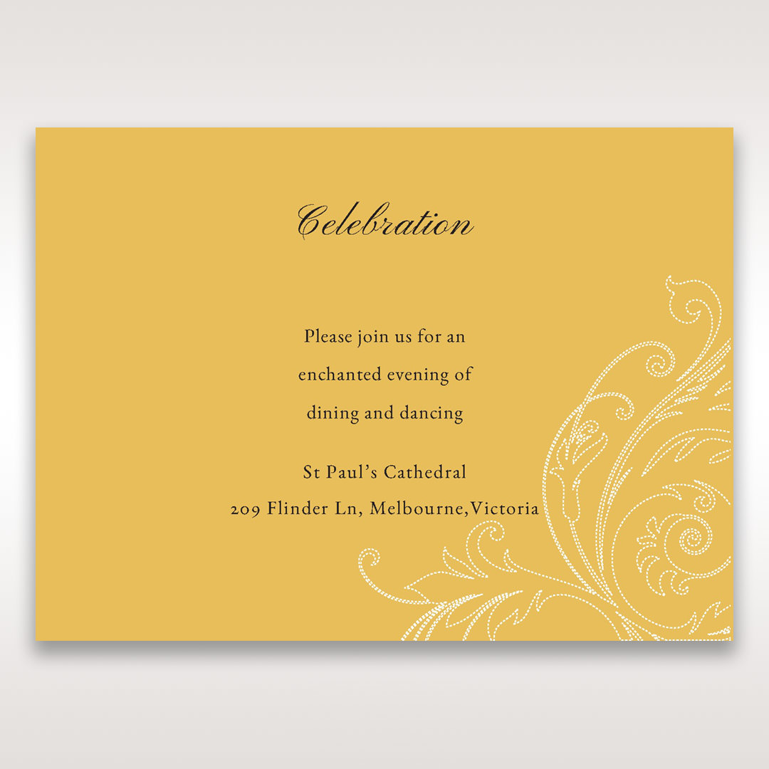 Yellow/Gold Urban Chic with Gold Swirls - Reception Cards - Wedding Stationery - 78