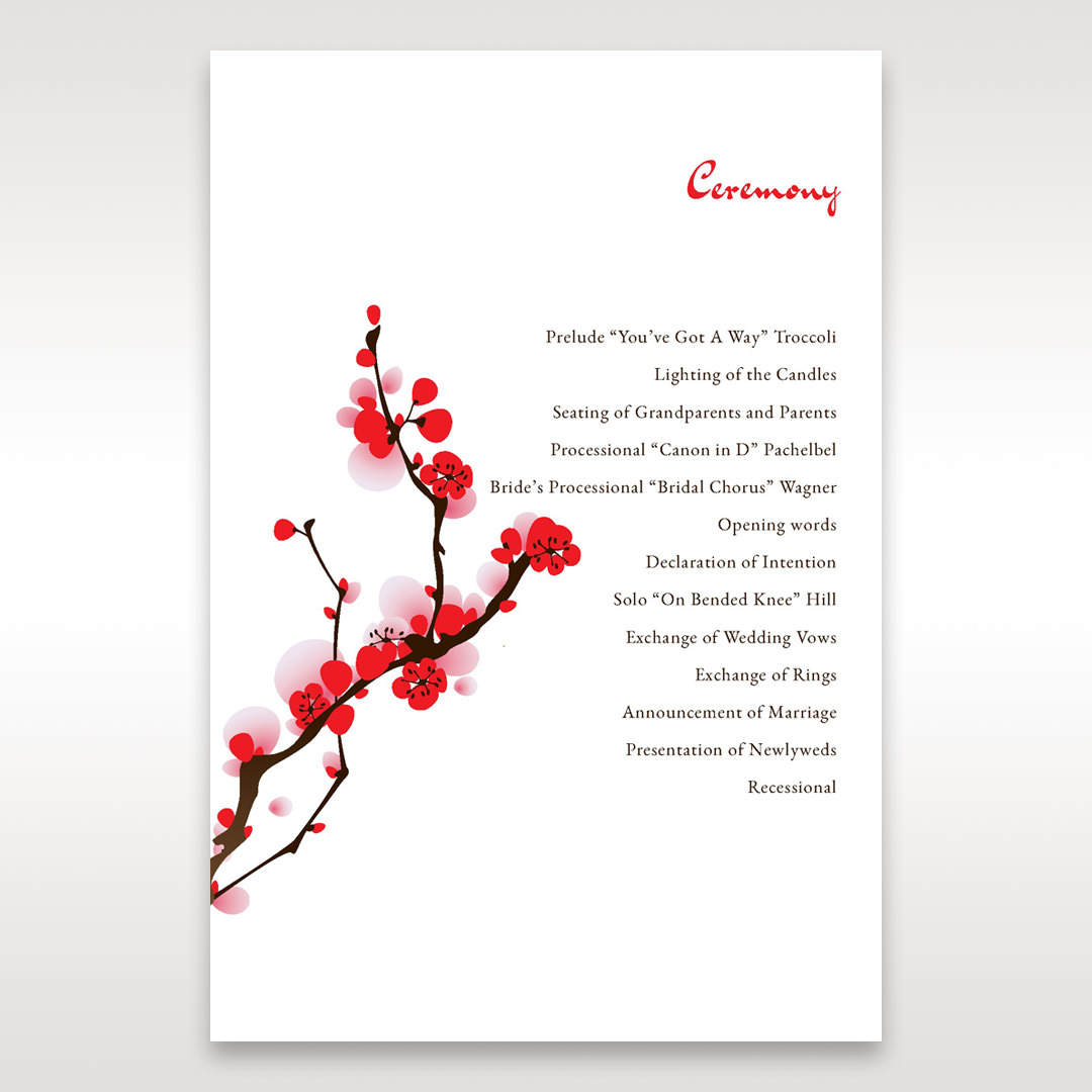 Red Plum Blossoms - Order of Service - Wedding Stationery - 43