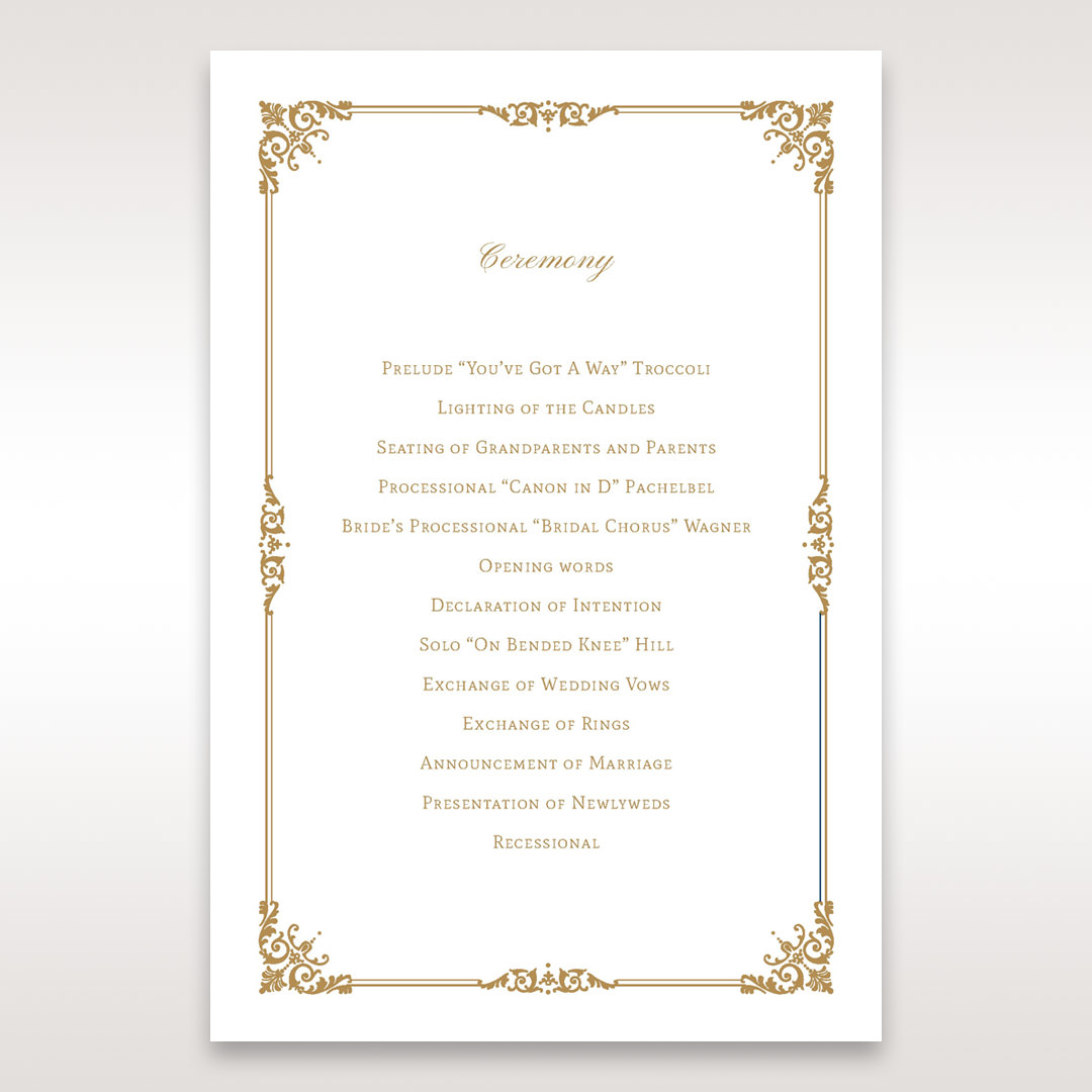 Yellow/Gold Romatic Classic - Order of Service - Wedding Stationery - 58