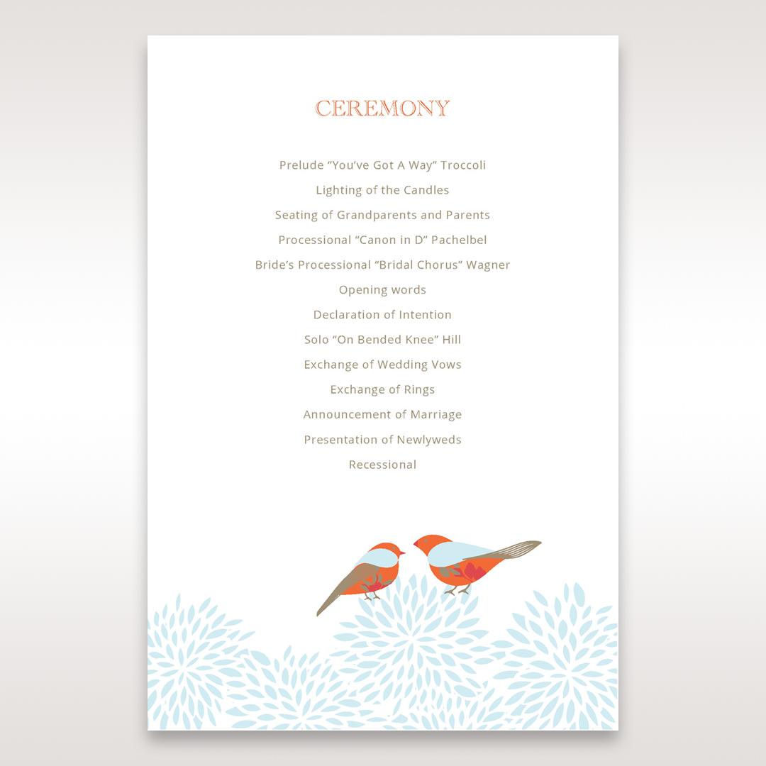 Red Love Birds - Order of Service - Wedding Stationery - 70