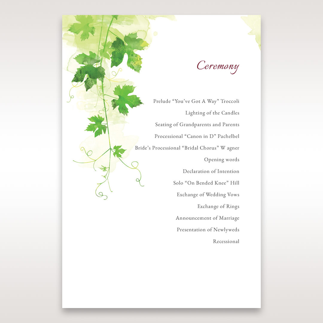 Green Natural Ivy - Order of Service - Wedding Stationery - 82
