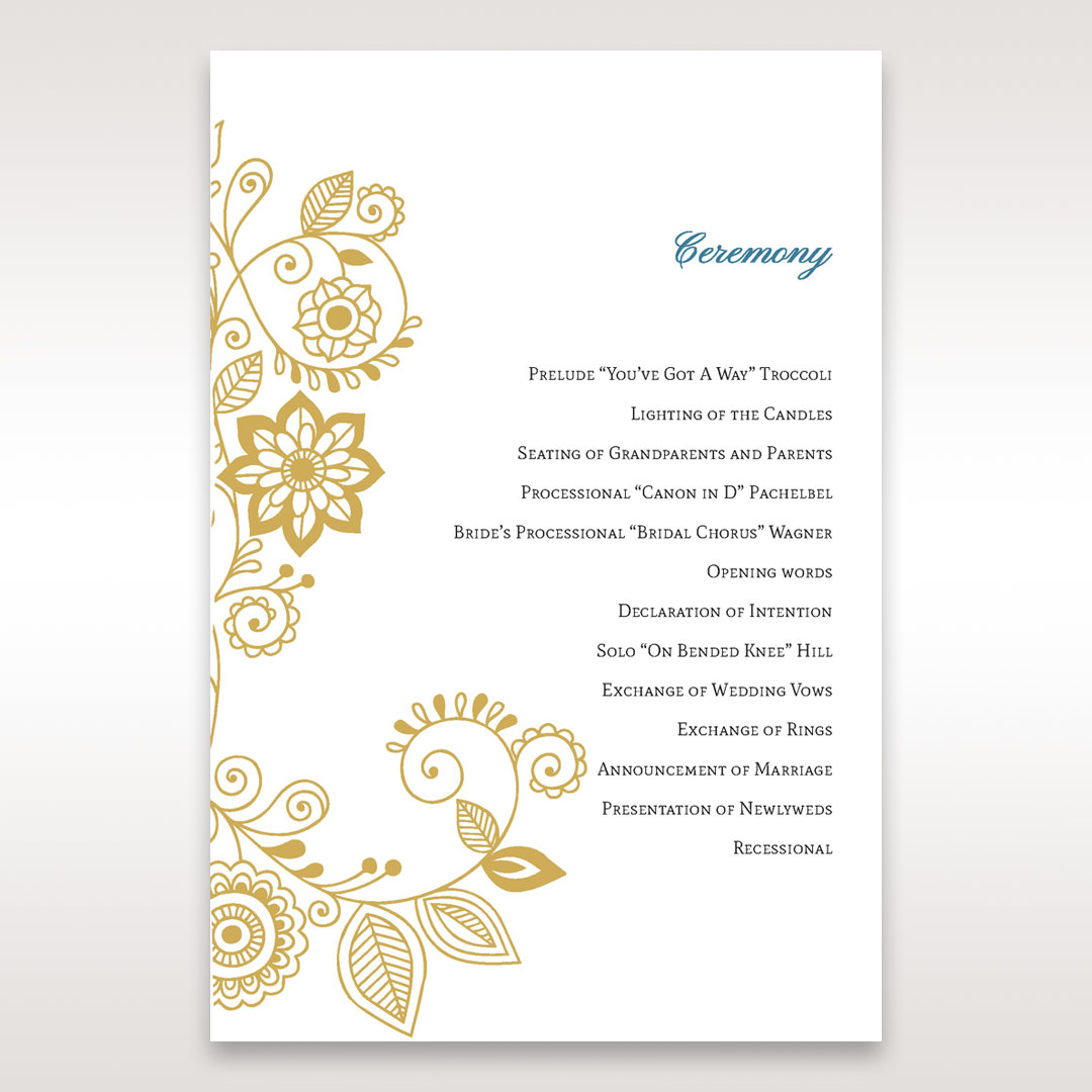 Yellow/Gold Splendid Golden Swirls - Order of Service - Wedding Stationery - 6
