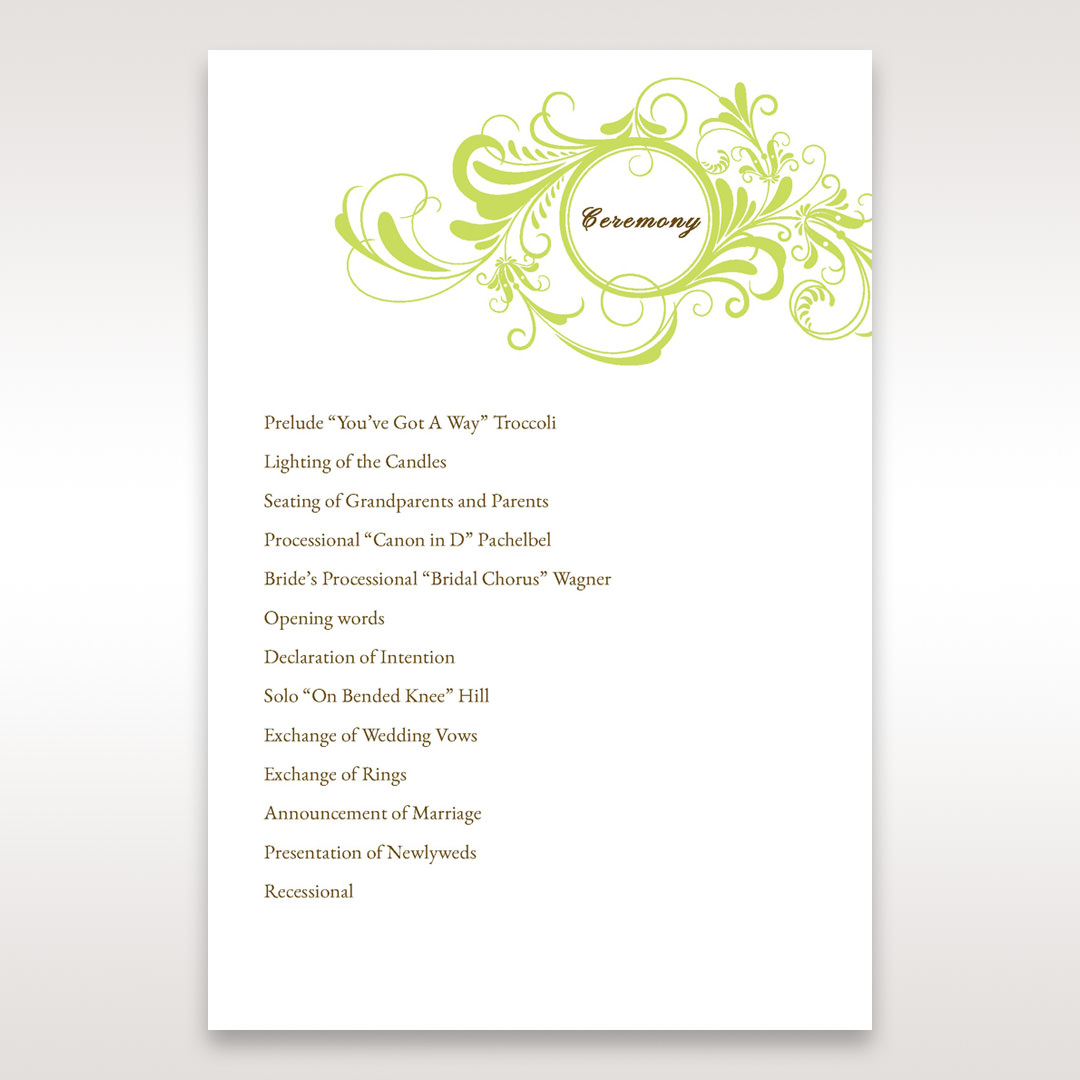 Green Sophisticataed Vintage Swirls - Order of Service - Wedding Stationery - 9