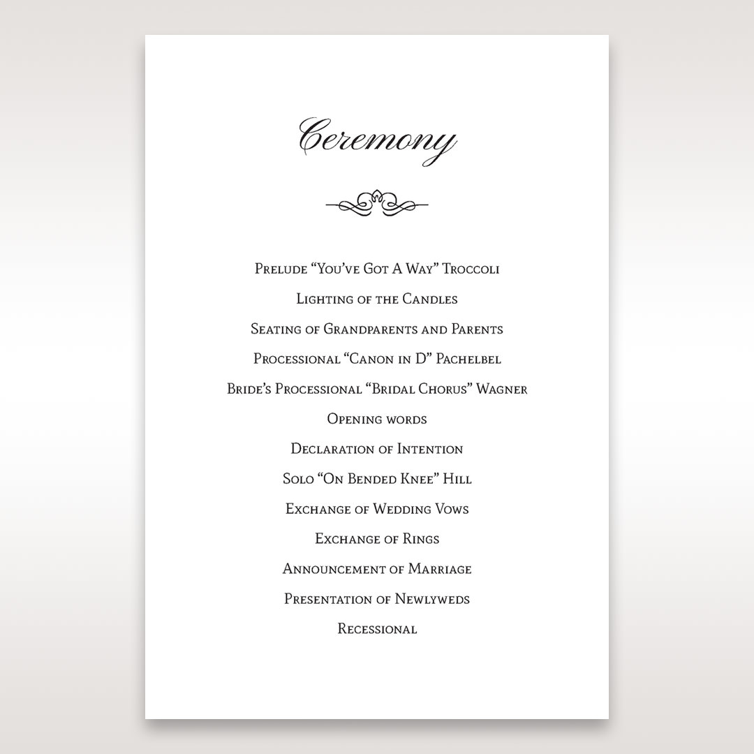 Silver/Gray Kinne White - Order of Service - Wedding Stationery - 96