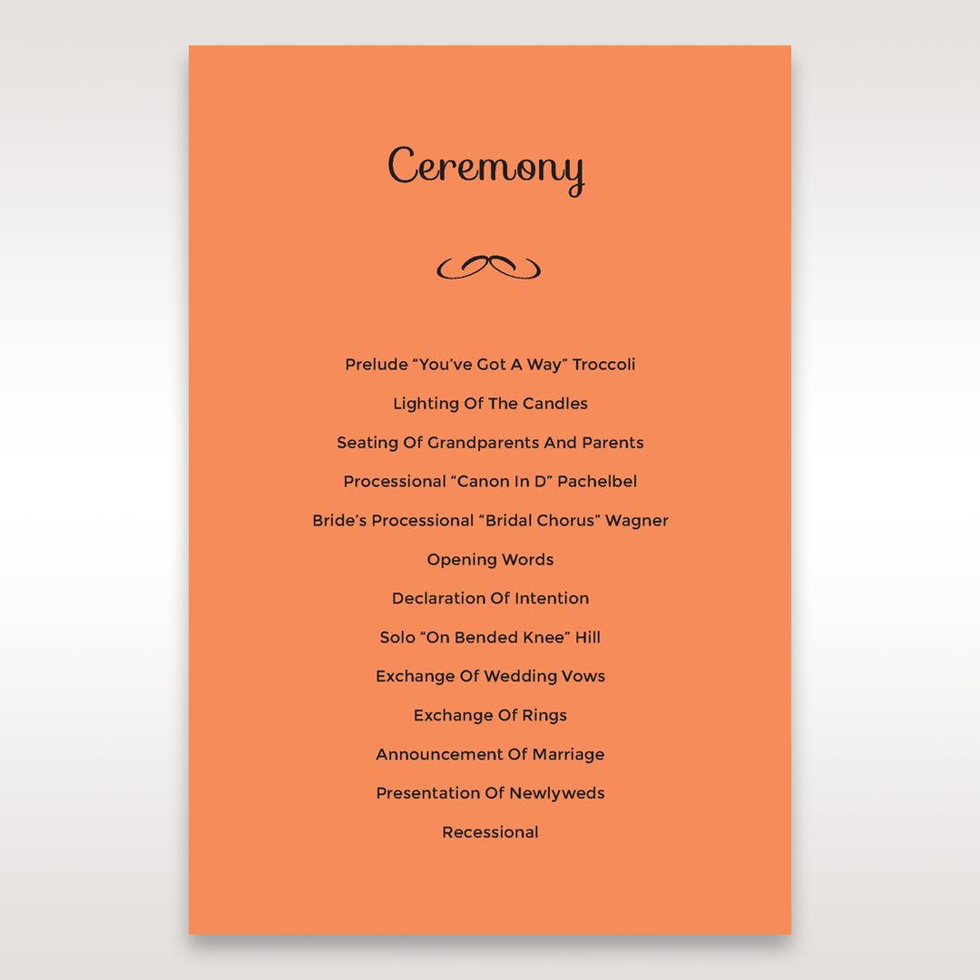 Orange Laser Peacock Laser Cut Pocket With Foil - Order of Service - Wedding Stationery - 81