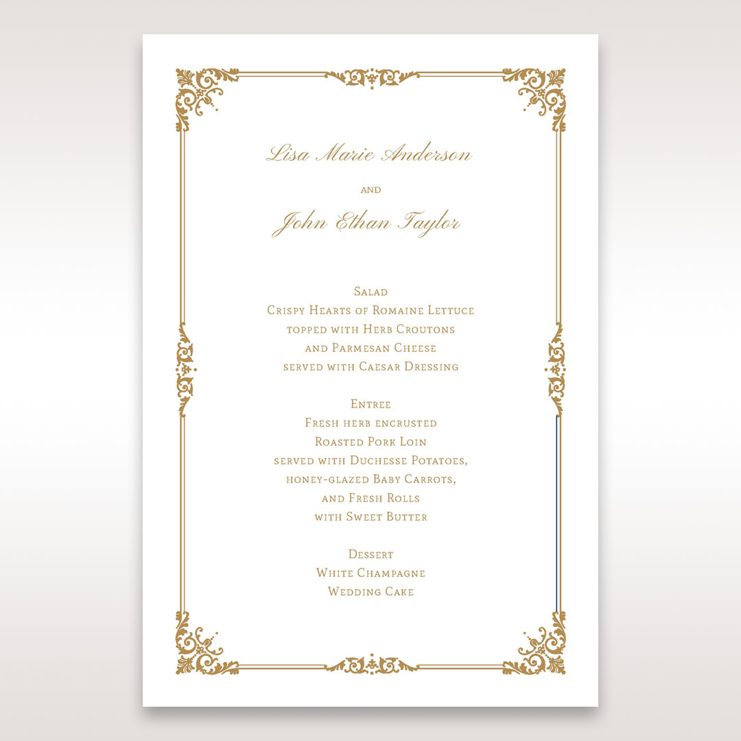 Yellow/Gold Romatic Classic - Menu Cards - Wedding Stationery - 40