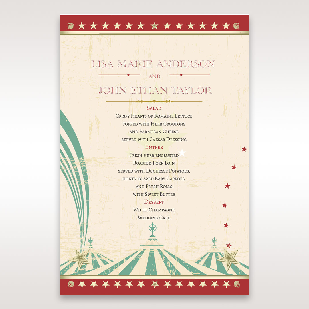 Red Big Top Celebration - Menu Cards - Wedding Stationery - 60