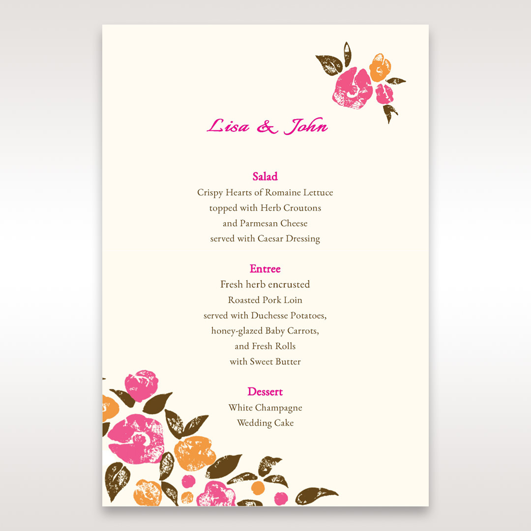 Red Flowers & Gemstones - Menu Cards - Wedding Stationery - 68