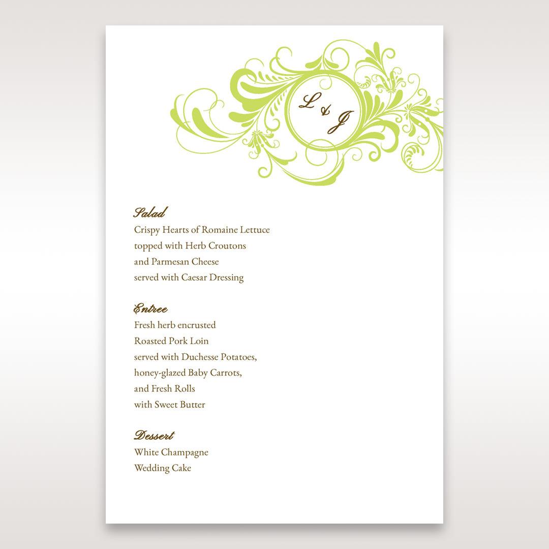 Green Sophisticataed Vintage Swirls - Menu Cards - Wedding Stationery - 52