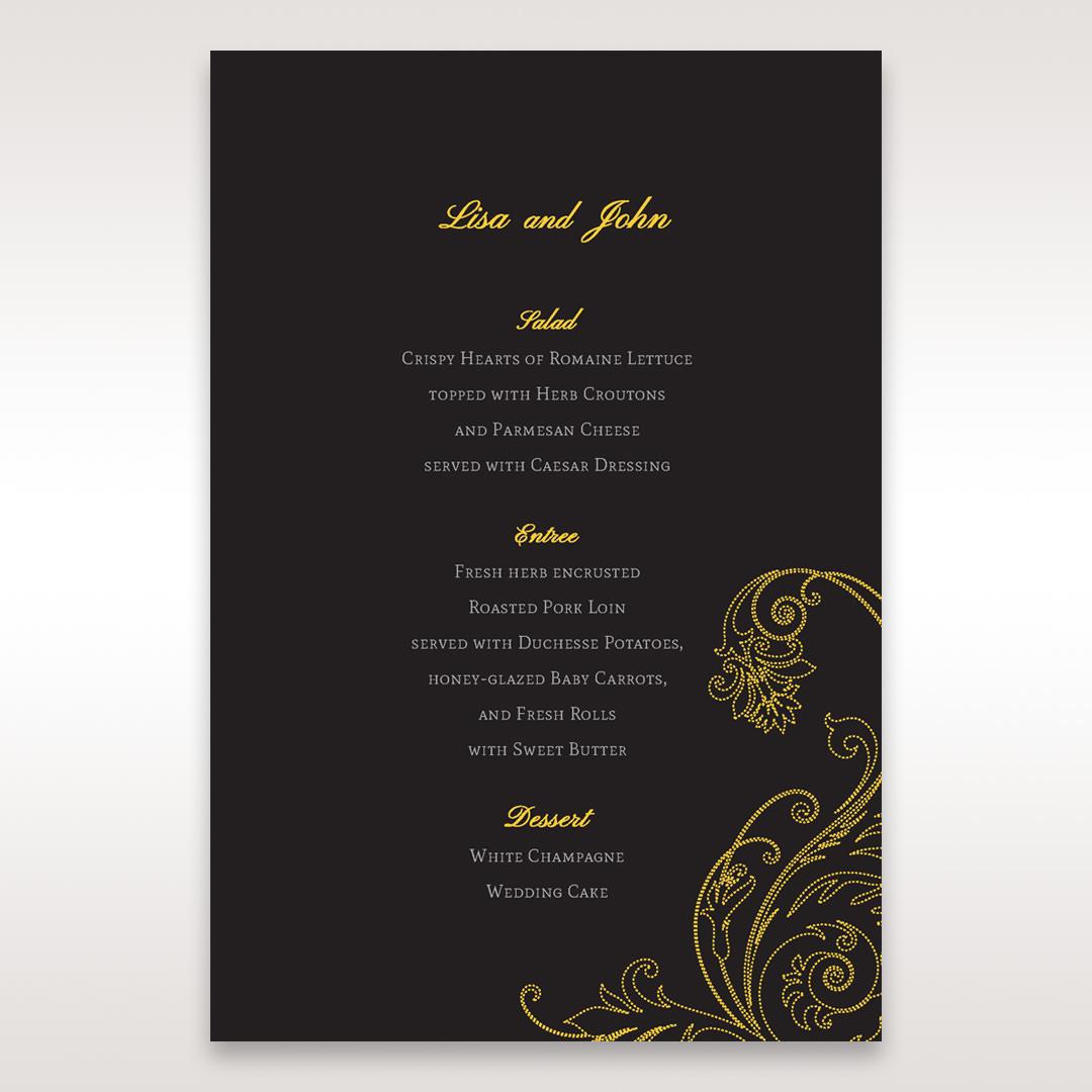 Black Urban Chic with Gold Swirls - Menu Cards - Wedding Stationery - 8